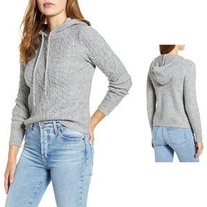 COURT AND ROWE Hooded Cable Women's Sweater Gray L